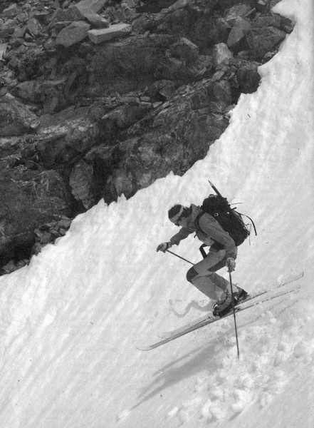 "Bela Vadasz descending Dana Couloir. Photo by Larry Proser. From ""Free..."