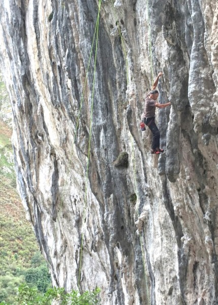 """Me mounting a feature on a climb called """"Balls of the Devil"""".  I'm not..."""