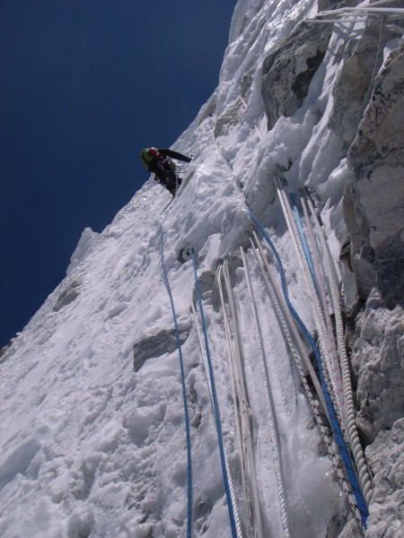 Alpine climbing on a messed up Ama Dablam, Khumbu Valley.