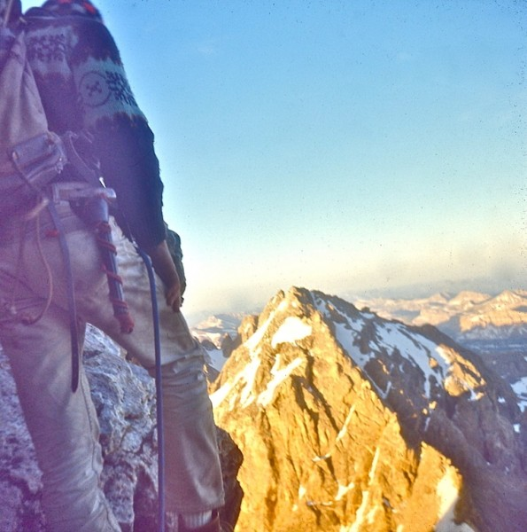 Heading across Wall Street, Exum Ridge, Grand Teton, WY 1968