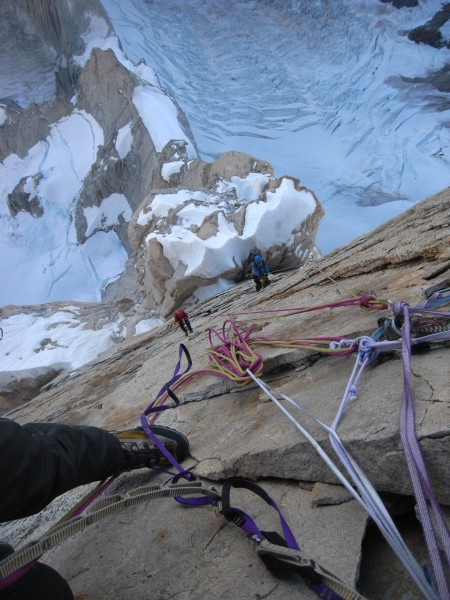 On the head-wall of the Compressor Route, Cerro Torre.