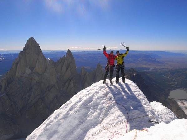 On the summit of Cerro Torre.