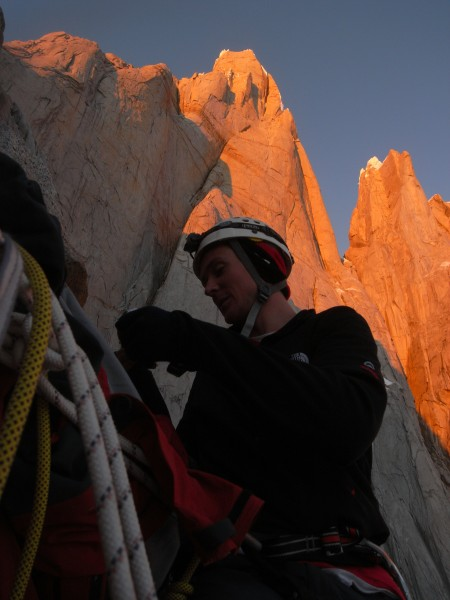 Climbing Cerro Torre with Torre Egger looming behind.