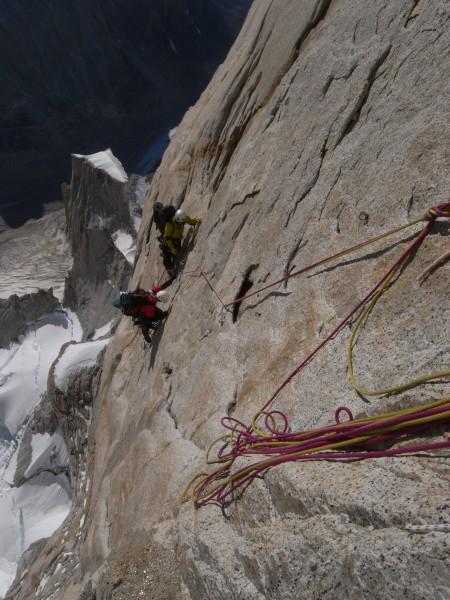 The infamous bolt traverse on Cerro Torre's Compressor Route.