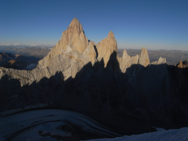 Evening with the shadow of the Torres on the west face of Fitz Roy.