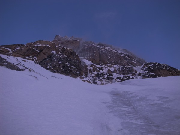 Looking up the ice field below 'The Shaft'.
