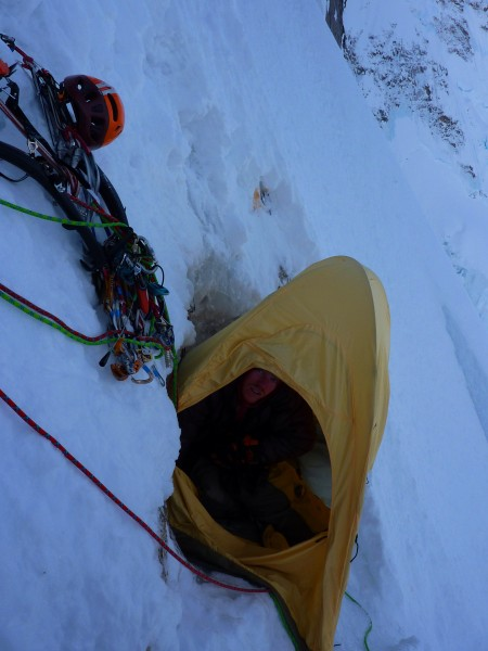 Bivy at the top of the ice field before 'The Shaft'. This is as far as...
