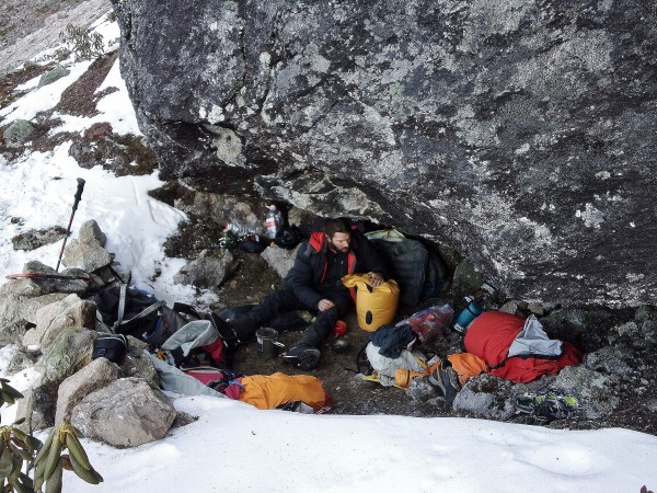 the cave at the snowline. comfortable enough with a bit of digging.