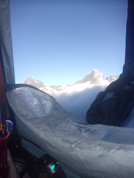 morning vista above the clouds. Dumu(L) and Abi(R) peaks.