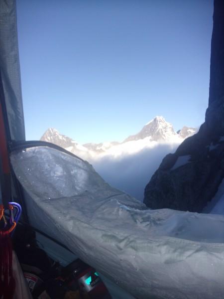 morning vista above the clouds. Dumu(L) and Abi(R) peaks.