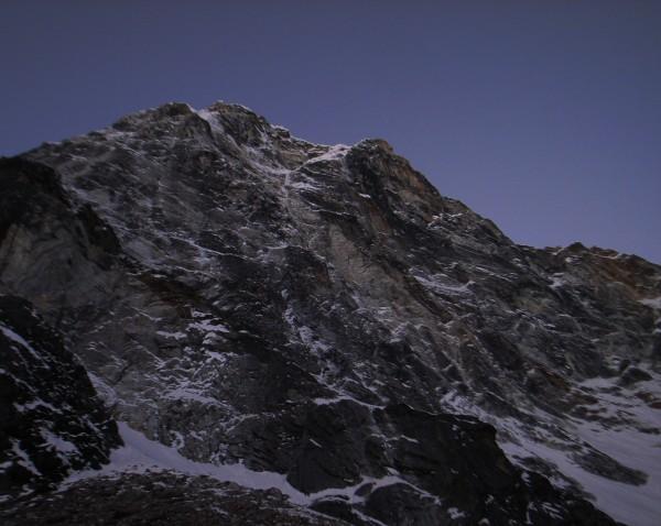 The intimidating north face of Cholatse, Khumbu Valley.