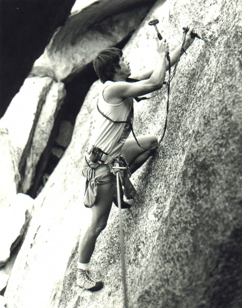 Dan Curley, drilling the hard way. Canyon Tajo, 1977.
