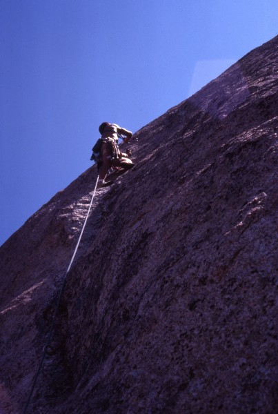 "Dan C. FA of ""Guts to Open"" 5.10, pitch #2, Canyon Tajo, 1977"
