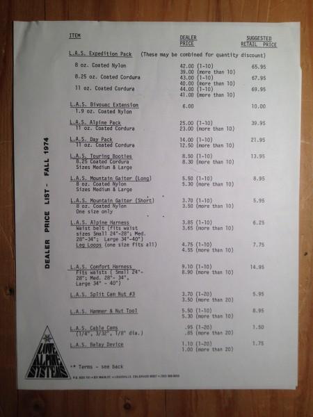 1974 Lowe Alpine Systems, price list