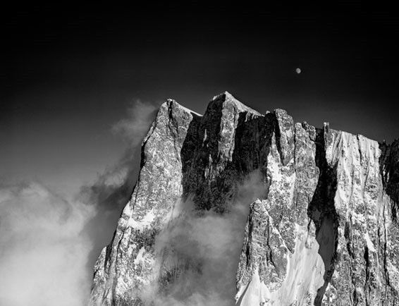 Grandes Jorasses North Face at moonrise