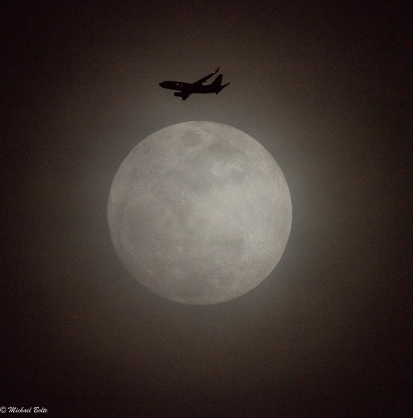 moon, fog, plane, near miss