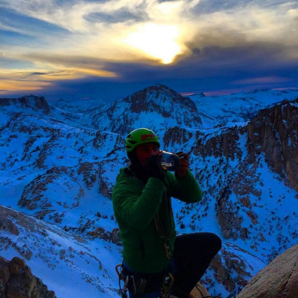 Jeremy Collins having a pint near the summit of the Incredible Hulk. W...
