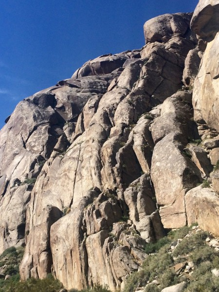 The route climbs the off width left of center to the big ledge and fol...