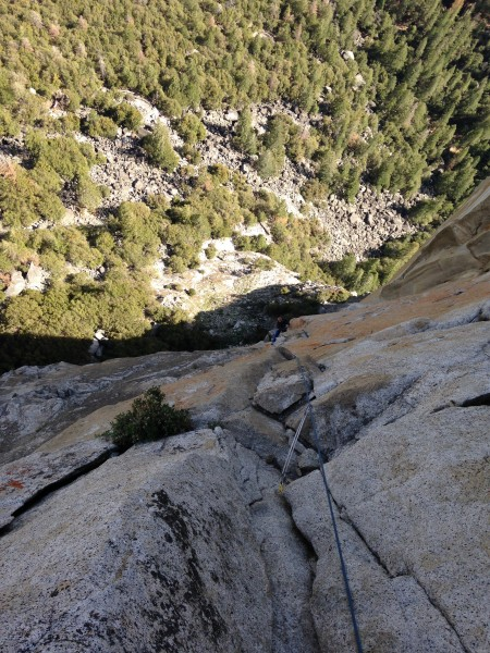 from the p8 belay ledge