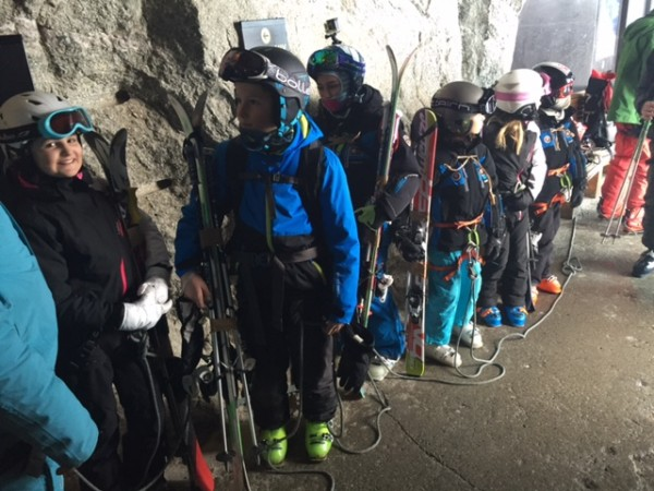 Local kids out for a casual ski descent.