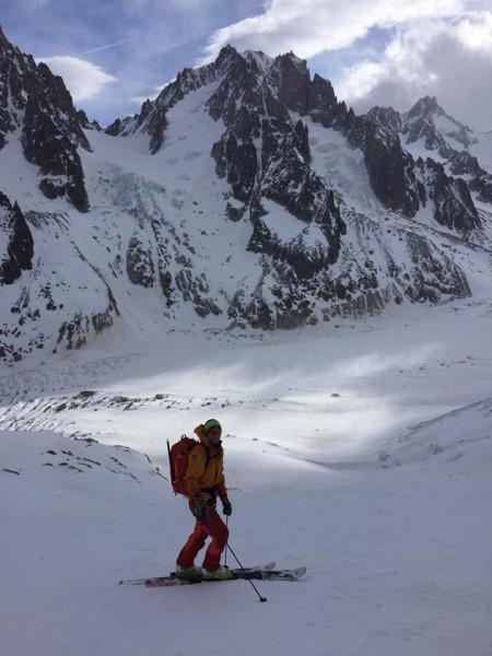The Argentiere Glacier below and Col de Chardonnet above