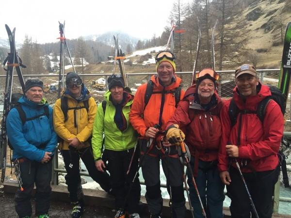 Charlie D., Dave J., Tim, Stein, Dave C. & Ron V. arrive in Zermatt
