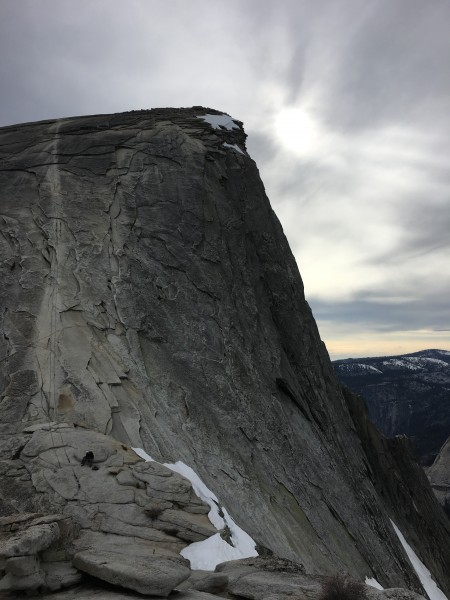 After the cable descent looking directly at the North Face from the si...