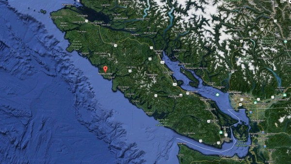 9.1 vancouver island with the red marker centred on nootka island.