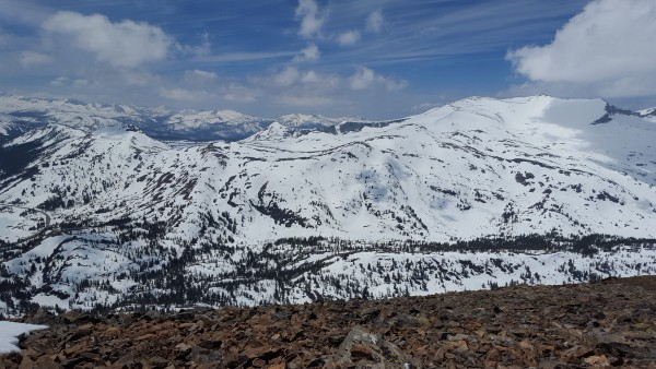 false white and Tuolumne high country from tioga peak
