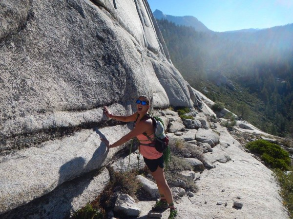Jenn was really excited to touch Half Dome for the first time.