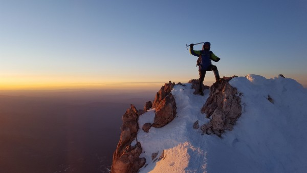On the summit of Mt Shasta 72 hours earlier, photo credit Alex Yunerma...