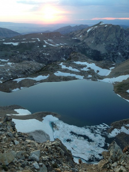 Icefloe Lake below the Middle-South bivy at sunset.