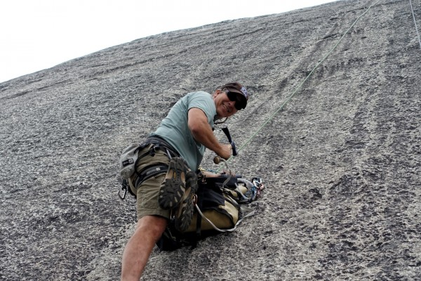 First Ascentionist Ron Vardanega rebolting his old route, Crystal Blue...