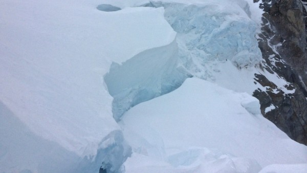 2.4 the crevasse/schrund/serac at the top of the col that in order to ...