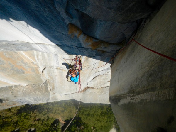 "Ryan leading pitch four while looking down on me belaying at the ""Blac..."