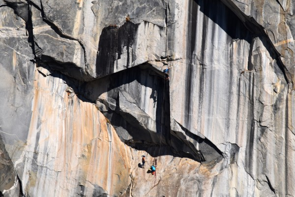 """Ryan leading Pitch four with me below at the """"Black Cat Belay"""". Ryan w..."""