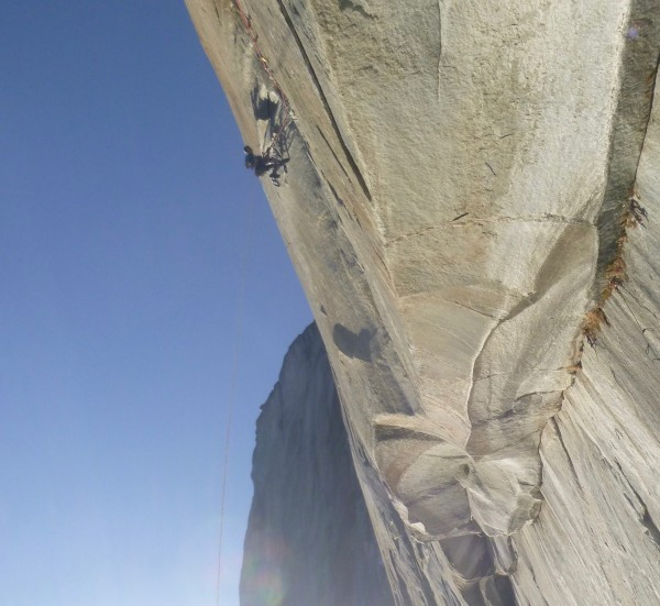 Ryan leading the outrageously steep 5th pitch. No camera tilt here, ju...