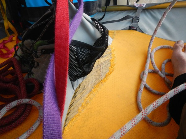 The the tear in the portaledge after the first night, you can see our ...