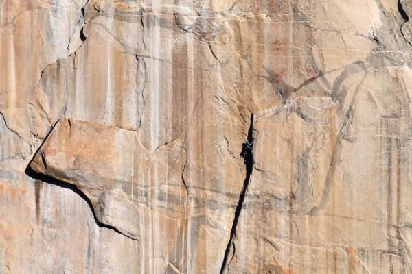 Ryan nearly at the top of Pitch 7. He wished he wore free climbing sho...