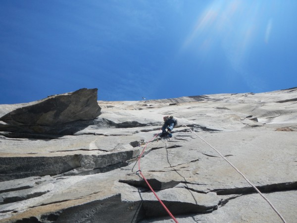 Me nearing the end of pitch 10 on Tangerine Trip.