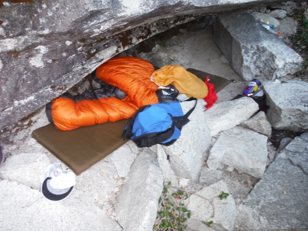 One of the bivy caves at the bottom of the route