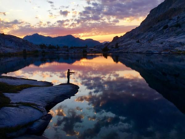 Chris Ewing sunrise fishing at 10,500 feet above Goddard Creek Canyon ...