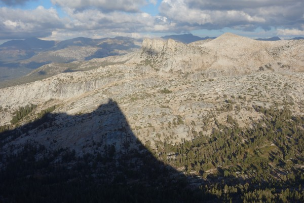 The ominous shadow of Cathedral Peak reaches toward Unicorn Peak.