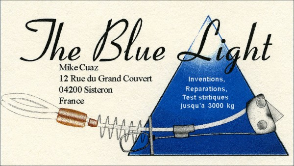 The Blue Light business card includes the Kush