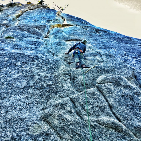 Doc Kwok on lead at Suicide Rock, June 2016