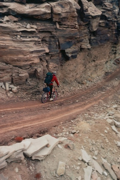 Steve Morgan descending the Shafer Trail in Candylands on his homemade...