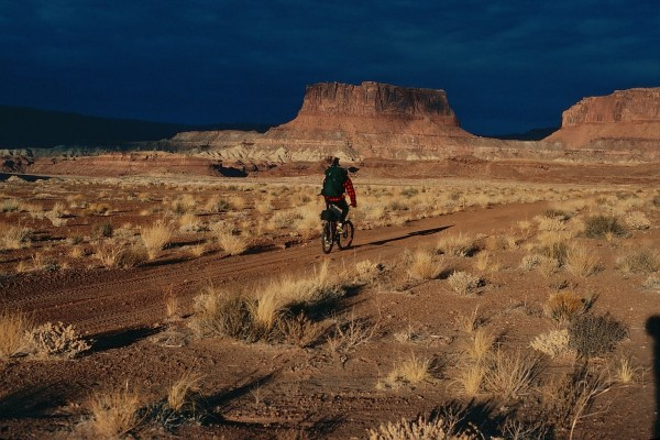 Steve cruising along the White Rim trail late on the second day.