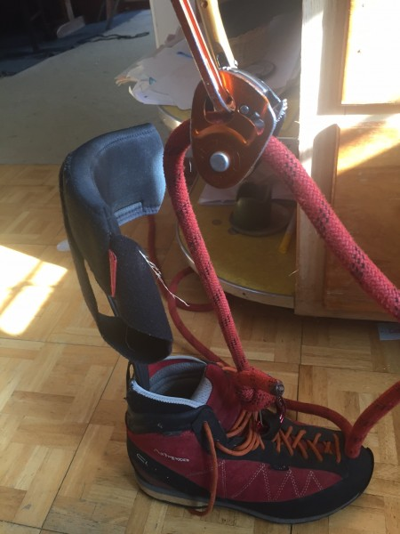 My right micro traxion adjustable aider clipped to my ArbPro boot.  My...