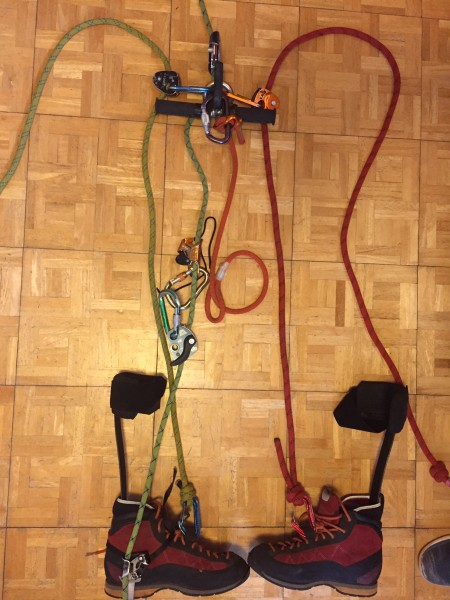 From top: 1993 Petzl ascender with Ring Open slung through handle to w...