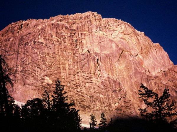 The East Face of the Silver Turret at sunrise from the camp at the bas...